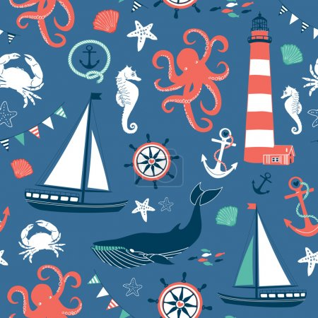 Illustration for Retro Seamless Nautical pattern - Royalty Free Image
