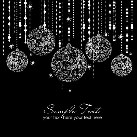 Illustration for Black and White Christmas ornaments - Royalty Free Image