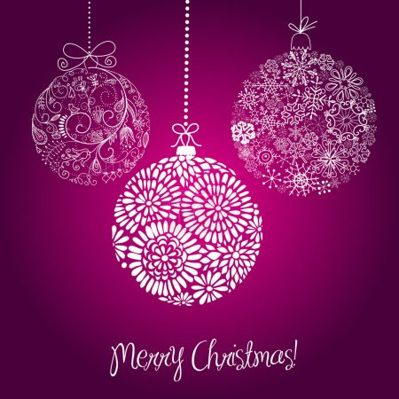 Purple and white Christmas balls illustration.