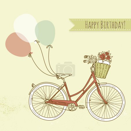 Photo for Bicycle with balloons and a basket full of flowers, Romantic Birthday card - Royalty Free Image