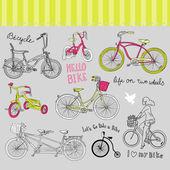 Ročník cyklistické sady a krásná dívka, jízda na kole