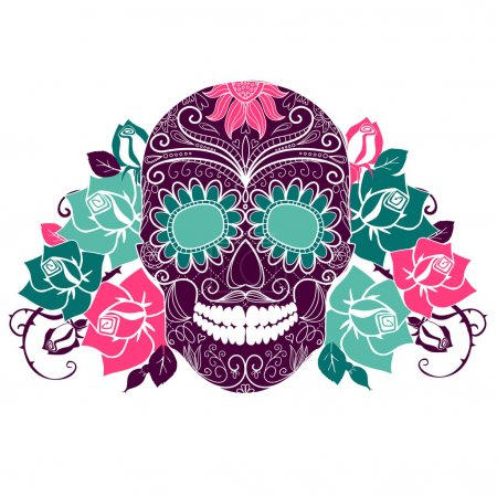 Skull and roses, Colorful Day of the Dead card...