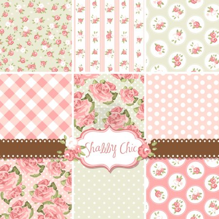 Illustration for Shabby Chic Rose Patterns and seamless backgrounds. Ideal for printing onto fabric and paper or scrap booking. - Royalty Free Image