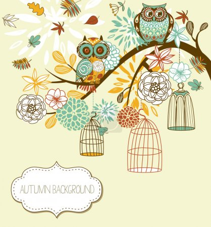 Photo for Owl autumn floral background. Owls out of their cages concept vector - Royalty Free Image