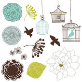 Set of birds flowers and birdcages