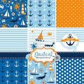 A set of 9 nautical backgrounds blue red and white seamless patterns