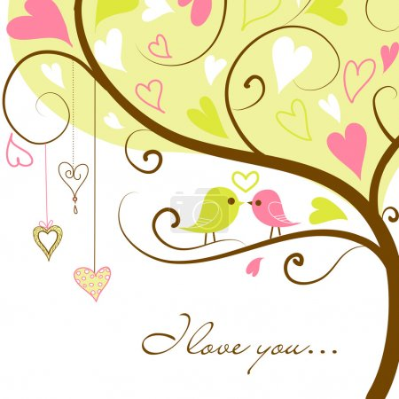 Illustration pour Deux oiseaux amoureux - image libre de droit