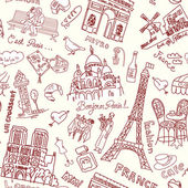Paris seamless doodles background