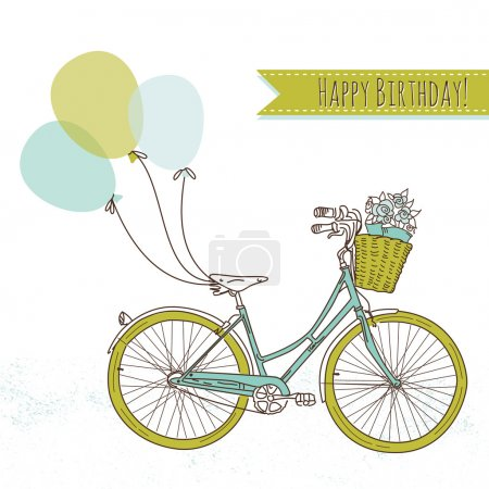 Illustration for Bicycle with balloons and a basket full of flowers, Romantic Birthday card - Royalty Free Image