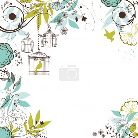 Illustration pour Fond floral d'été. Oiseaux hors de leurs cages concept vecteur - image libre de droit