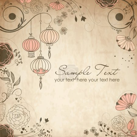 Illustration for Chinese lanterns. Stylish floral background - Royalty Free Image