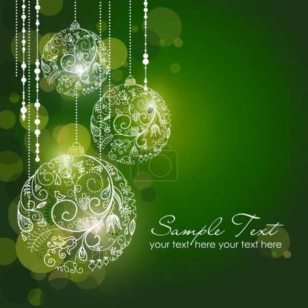 Illustration for Green Christmas Background with Christmas ornaments - Royalty Free Image