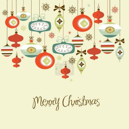 Illustration for Retro Christmas Decorations. - Royalty Free Image