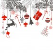 Christmas background in grey, red, white and black...