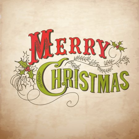 Illustration pour Carte de Noël vintage. Joyeux Noël lettrage - image libre de droit