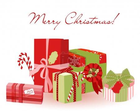 Illustration pour Jolis cadeaux de Noël. Emballage créatif - image libre de droit