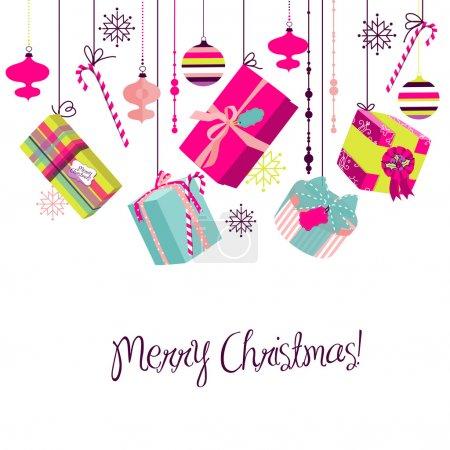 Illustration pour Cadeaux de Noël dans un style rétro. Idées pour l'emballage créatif ou fond lumineux de Noël - image libre de droit
