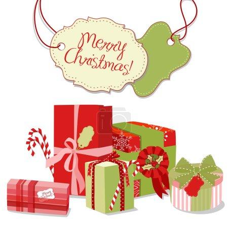 Illustration pour Cadeaux de Noël dans un style rétro. Emballage créatif - image libre de droit