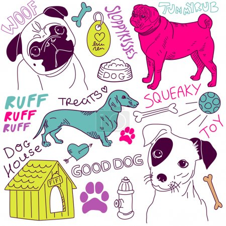 Illustration for I love Dogs! vector doodles set - Royalty Free Image