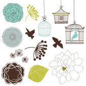 Birds flowers birdcages