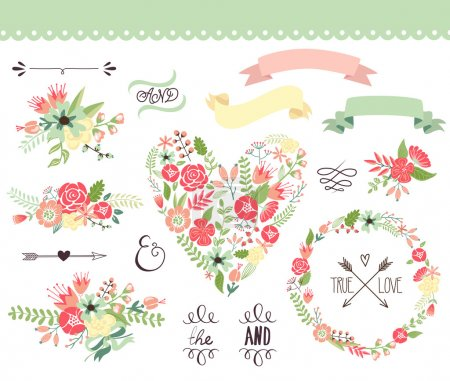 Illustration for Wedding graphic set, wreath, flowers, arrows, hearts, laurel, ribbons and labels. - Royalty Free Image