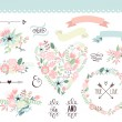 Wedding graphic set, wreath, flowers, arrows, hear...
