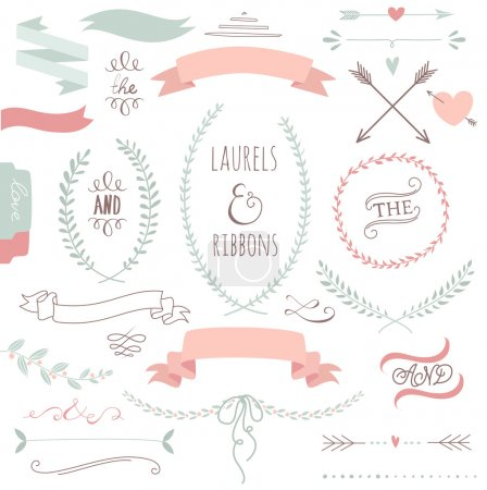 Photo for Wedding graphic set, arrows, hearts, laurel, wreaths, ribbons and labels. - Royalty Free Image