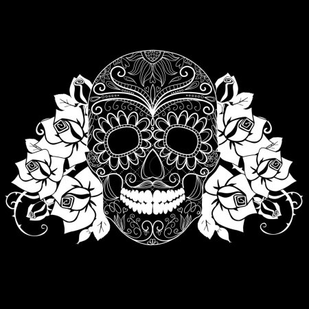 Illustration for Skull and roses, black and white Day of the Dead card - Royalty Free Image