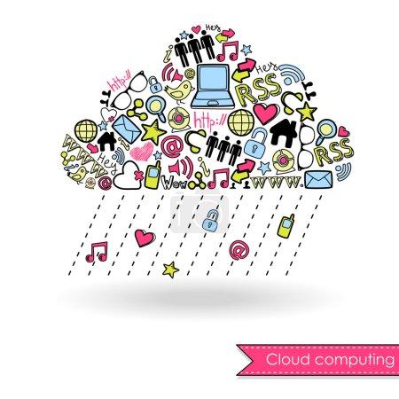 Illustration pour Cloud computing et concept de médias sociaux. Mignon gribouillis dessinés à la main - image libre de droit