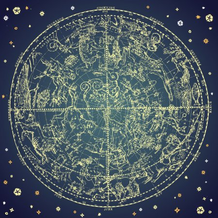Illustration for Vintage zodiac constellation of northen stars. - Royalty Free Image