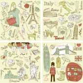 Italy France USA - four wonderful collections of hand drawn doodles