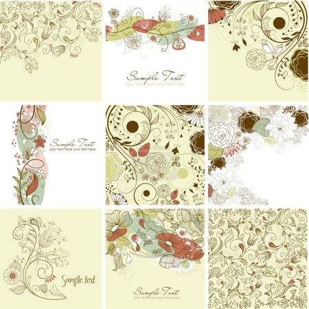 Illustration pour Jeu de cartes de voeux florales mignons - image libre de droit