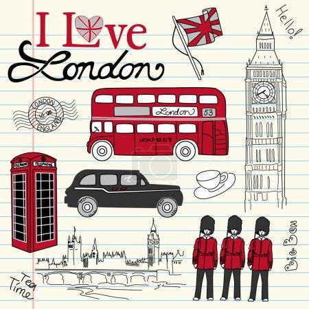 Illustration for I Love London doodles - Royalty Free Image
