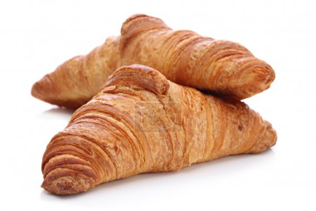 Photo for Two croissants, a traditional French pastry, on a white background - Royalty Free Image