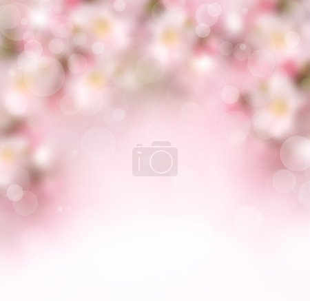 Abstract spring background with pink flowers and b...