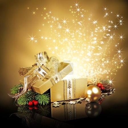 Photo for Exploding golden Christmas gift box with glitters and stars - Royalty Free Image