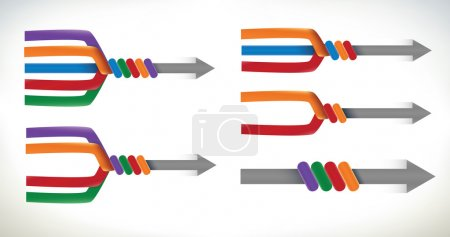 Illustration for A set of presentation elements using arrows merging and uniting into one element - Royalty Free Image
