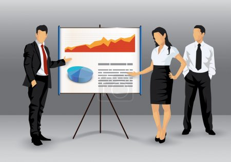 Illustration for Illustration of business making a presentation with the use of a white board showing pie-charts and graphs - Royalty Free Image