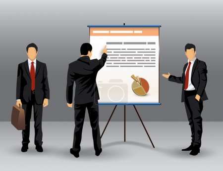 Illustration for Illustration of businessman making a presentation in front of a board - Royalty Free Image