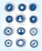 Selection of free-drawn circular business icons in blue both internet related themes and blank buttons for insertion of your own text