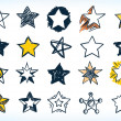 Collection of sixteen handdrawn pen and ink stars ...