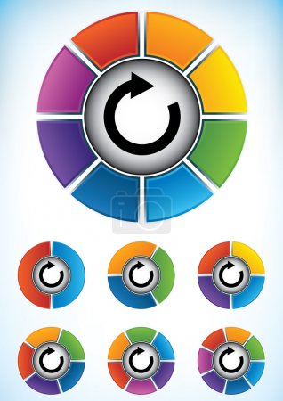 Set of seven wheel diagrams with different colors ...