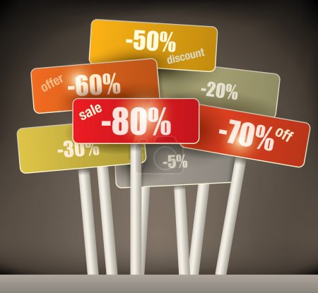 Illustration for 3d selection of multicolored discount signs on poles with a variety of different percentages grouped together on a graduated brown background - Royalty Free Image