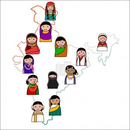 Indian women vector avatar illustration