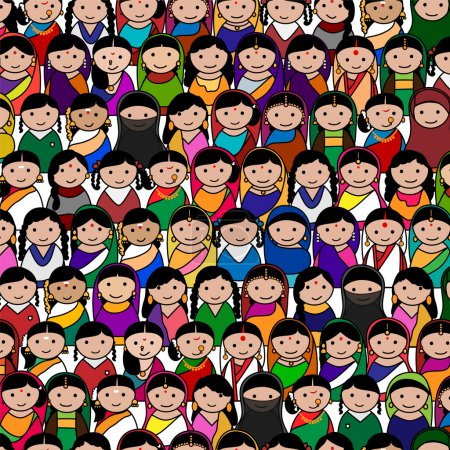 Big crowd of Indian women vector avatar illustration