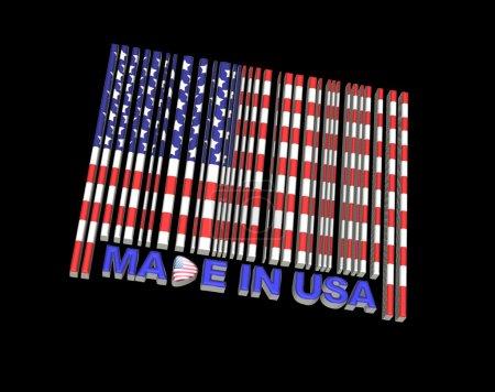 Photo pour Illustration avec un code à barres fabriquée aux Etats-Unis. - image libre de droit