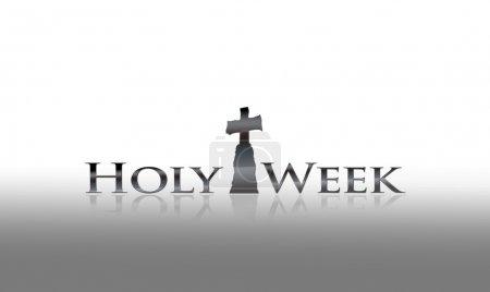 Photo pour Illustration avec phrase Semaine Sainte sur fond blanc . - image libre de droit