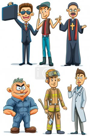 Illustration for Cartoon illustration of Men With Various Professions - Royalty Free Image