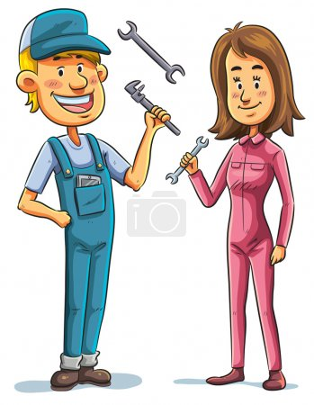 Mechanic, man and woman