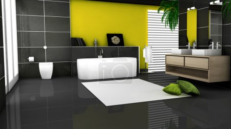 Photo for Yellow bathroom interior with modern and contemporary design and furniture with granite tiles and big windows, 3d rendering. - Royalty Free Image